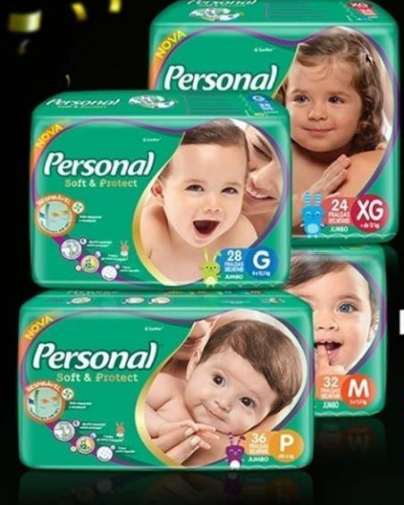 3 X Fralda Descartáveis Personal Baby Jumbo P,m,g Ou Xg