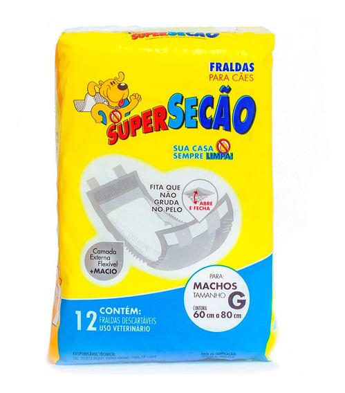 Fralda Descartável Super Secão Cão Macho G - Petix (12 Un)