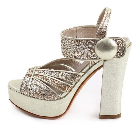 Zapatos Brillo Fiesta Dorado Plataforma Saverio Di Ricci
