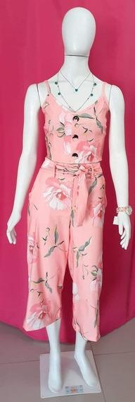 Conjunto Cropped E Pantacourt Florido Rosa