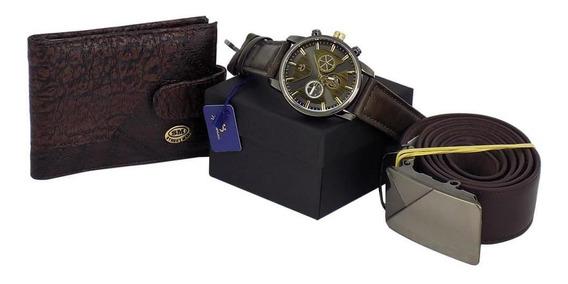 Relógio Masculino + Kit Cinto E Carteira