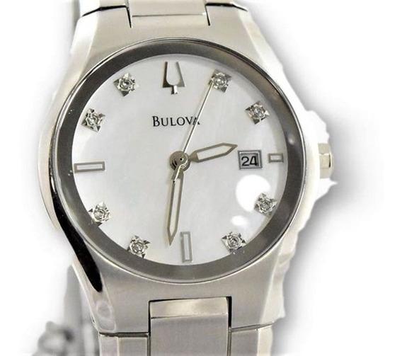 Relógio Bulova 96p108 Original Visor Com Oito Diamantes