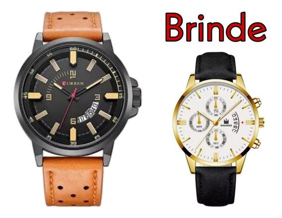 Relógio Masculino Preto E Bege Curren 8228 + Brinde