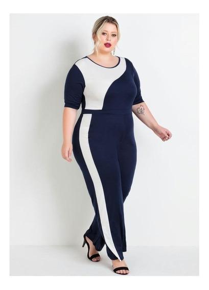 Macacão Pantalona Marinho E Off White Plus Size