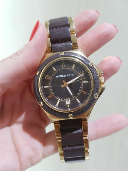 Relógio Dourado E Couro, Michael Kors, Mk-5169