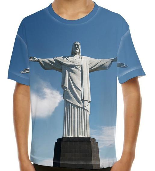 Camiseta Rio De Janeiro Cristo Redentor Infantil