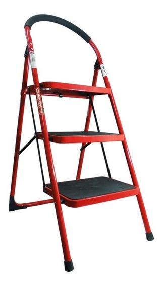 Escalera Practika 3 Escalones Acero Roja Peldaños Envio Grat