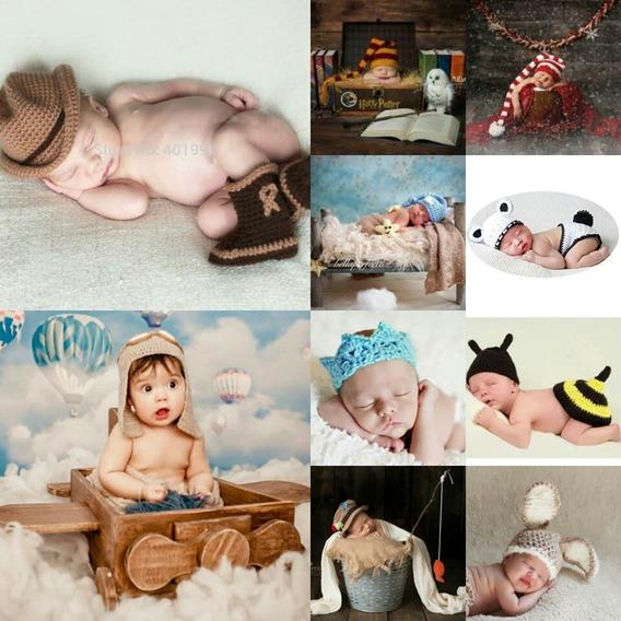 10 Newborn Roupinha Menino Fantasía Bebê Crochê Foto Roupa