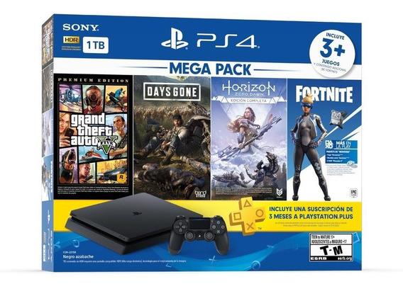 Ps4 1tb Mega Pack 6 Gta V Days Gone Fortnite Horizon Ps Plus