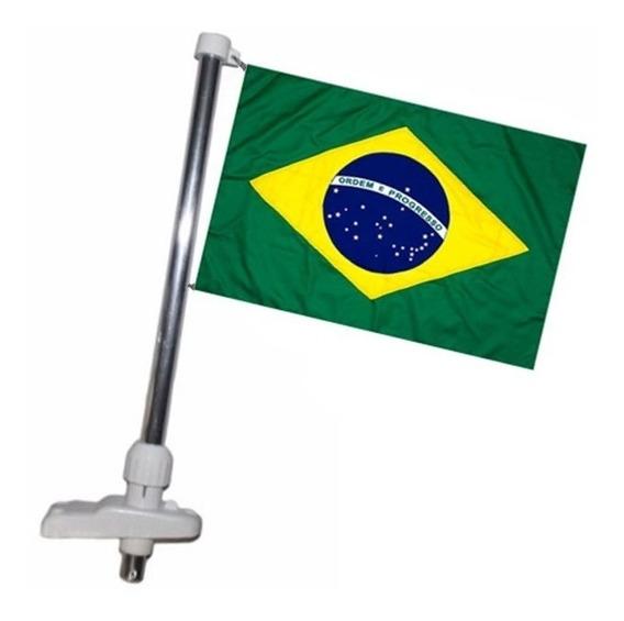 Mastro Porta Bandeira Do Brasil P/ Barcos Lanchas Cor Branca