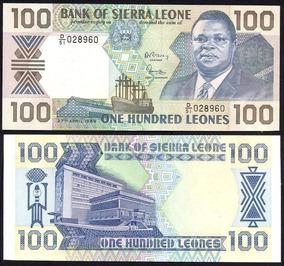 Serra Leoa 100 Leones 1989 P. 18b Fe Cédula - Tchequito