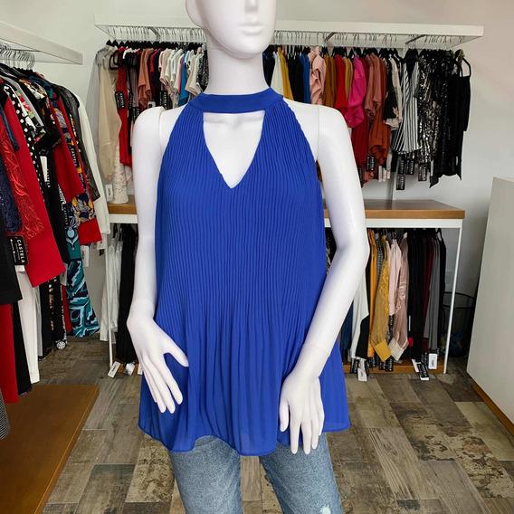 Blusa Azul Choker Plisada Ch, M Y G