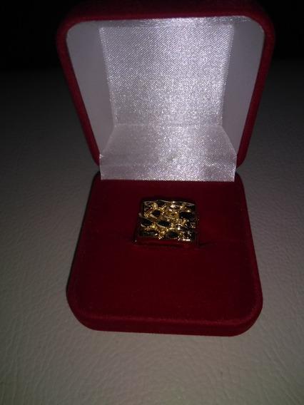 Anel Masculino Banhado A Ouro 14 K Pepita De Ouro Quadrada
