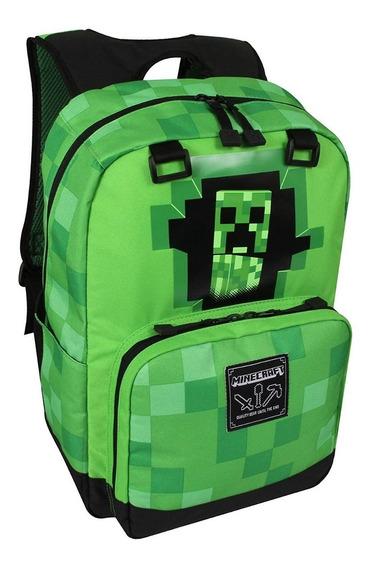 Mochilas Escolares Minecraft Verde Escuela Pixel Niños Y Lonchera
