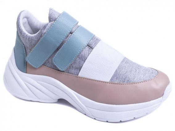 Tênis Chunky Sneaker Em Napa Rosê, Azul E Tecido Cor Cinza