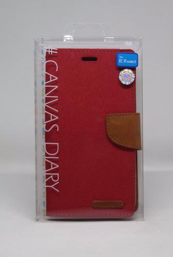 Funda Redmi Note 3 Mercury Goospery Canvas Diary Rojo