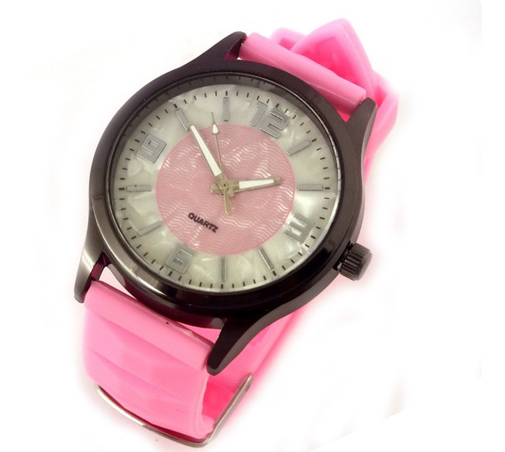 Relógio Feminino Quartz Com Pulseira Rosa Em Borracha B5622