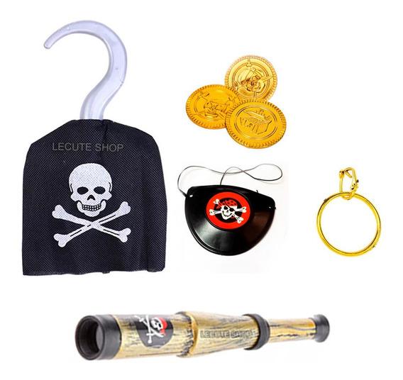 Kit 7 Accesorios Disfraz Pirata Niños Halloween Diversión.