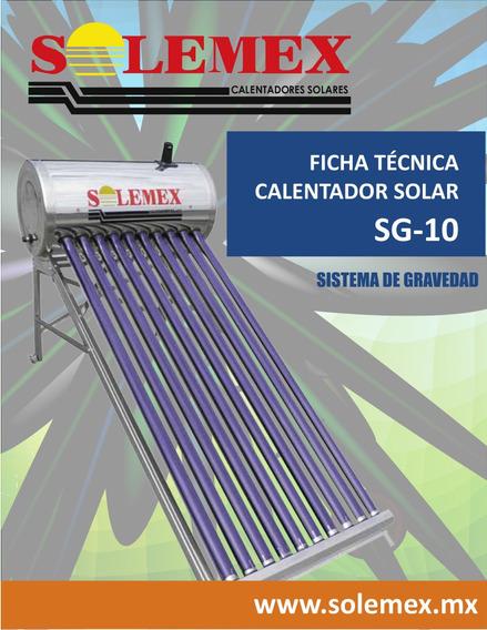 Calentador Solar 10 Tubos Marca Solemex