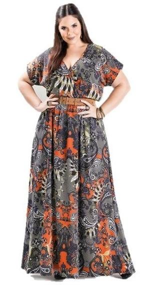 Vestido Longo Estampa Cashmere Plus Size Decote V Psd2123939