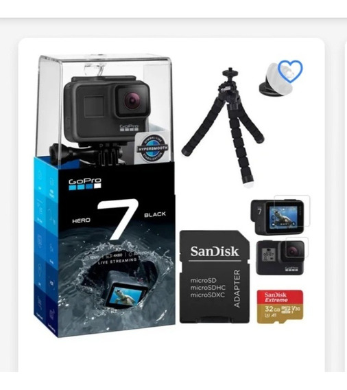 Camera Gopro Hero 7 Black+cartao+bateria+ Kit Acessorio