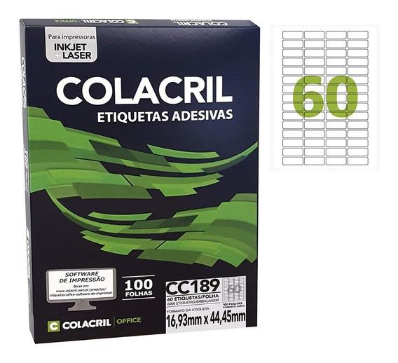 Etiqueta Adesiva Carta Cc189 16,93 X 44,45 Colacril 100 Fls