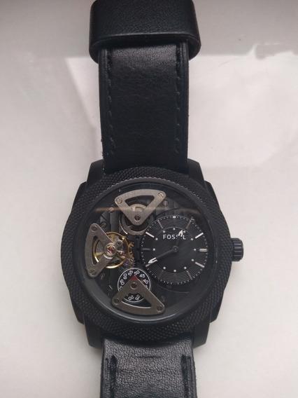 Relógio Fóssil Preto Pulseira De Couro Importado