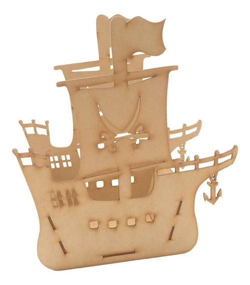 Barco Pirata De Mdf Para Centro De Mesa Florero O Dulcero