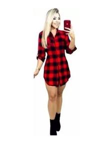 Vestido Feminino Xadrez Lindo Chemise Viscose Roupa Moda Top