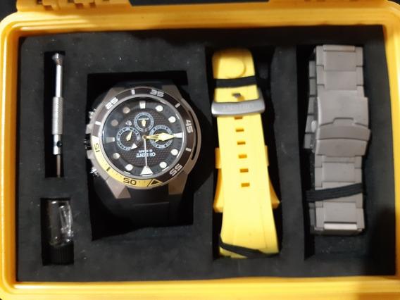Relógio De Titanium Com 3 Pulseiras + Maleta
