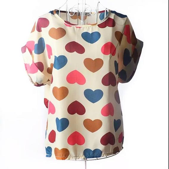 Blusa Juvenil De Moda Estampada Colores