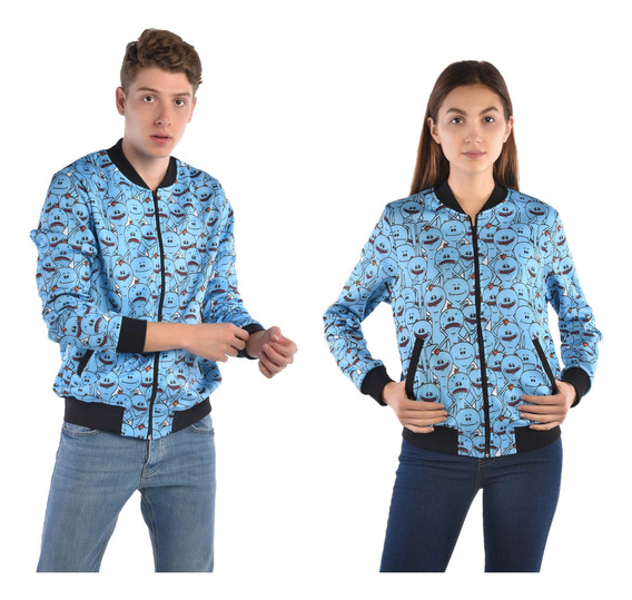 Bomber Jacket American Level Mr. Meeseeks Azul Unisex