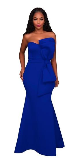 Vestido Azul Rey Strapple Con Moño Para Fiesta Talla Chica