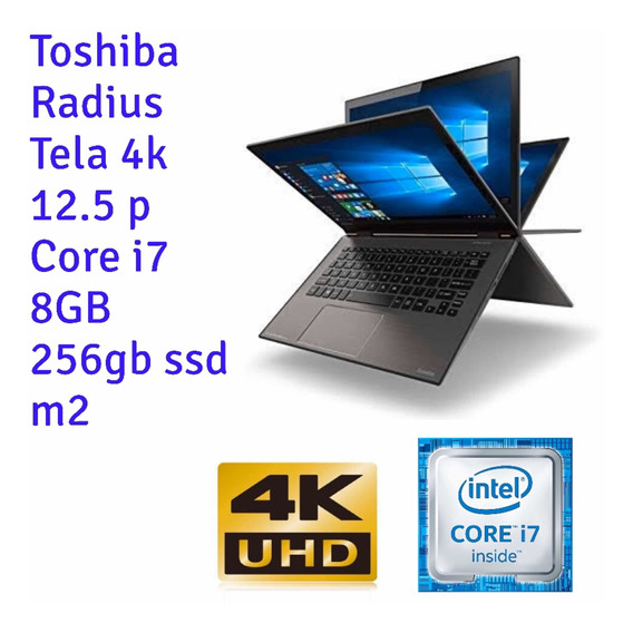 Notebook Toshiba 12 4k Touch I7 8gb 256 Ssd M2 Ultrabook