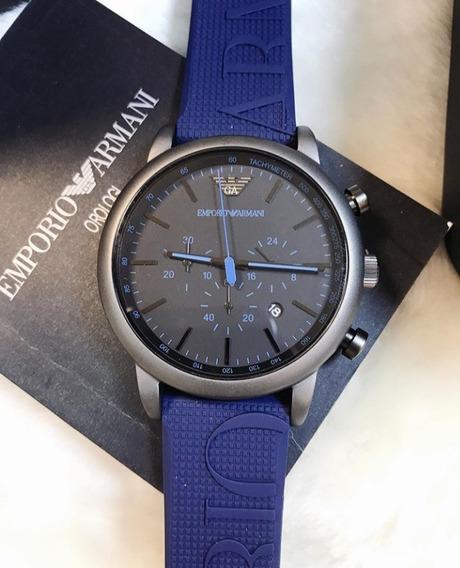 Relógio Emporio Armani Ar11023 Luigi Blue Azul Silicone