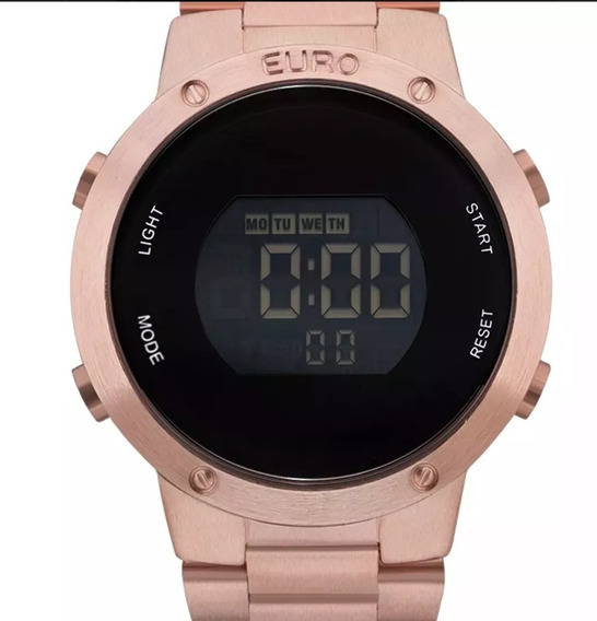 Relógio Euro Rose Gold Digital Cronógrafo Eubj3279af/4j Orig