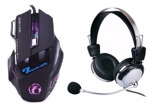 Kit Mouse Gamer 2400 Dpi + Headset Ps3 Pc Note C/microfone