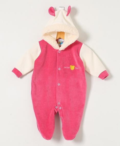 Macacão Bebê Menina Pingo Doce Plush Pink Com Capuz