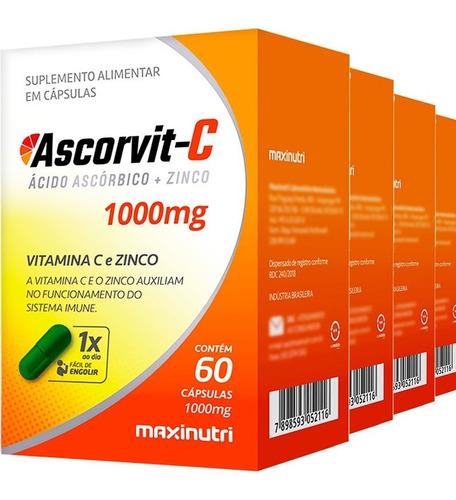 Imagem 1 de 3 de 4 Potes Vitamina C 1000mg + Zinco Ascorvit-c Com 60 Cápsulas