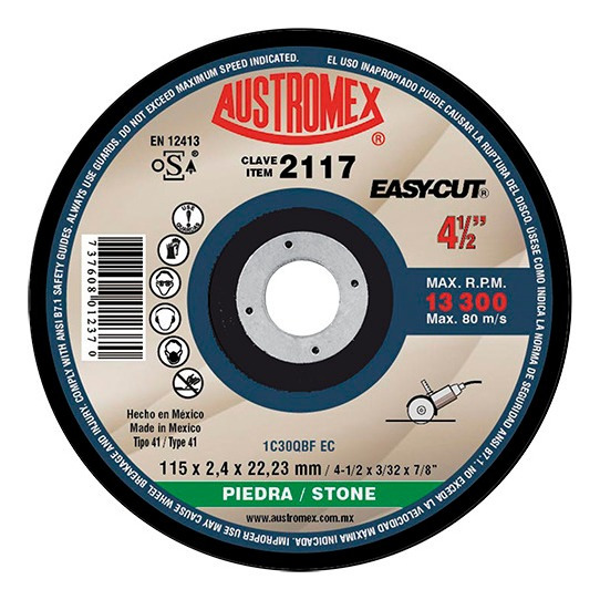 Disco Corte De Piedra 4½x3/32x7/8 Larga Duración Easy-cut