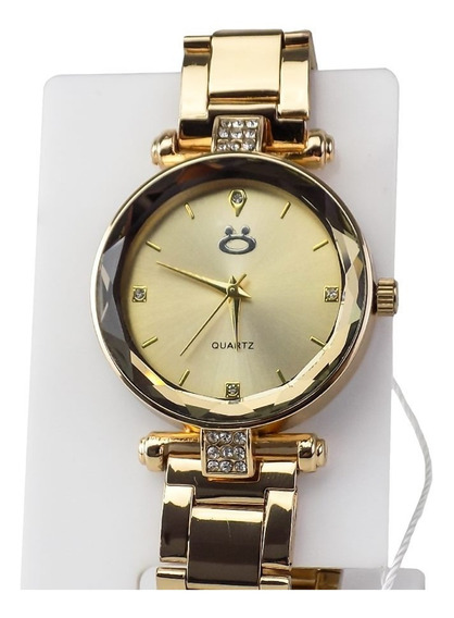 Relógio Feminino Aço Dourado + Brindes Envio Imediato