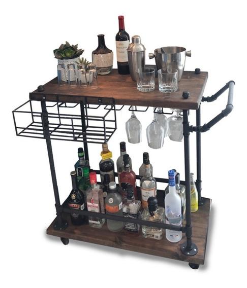 Carrito Bar De Servicio Madera/tuberia Industrial Herz