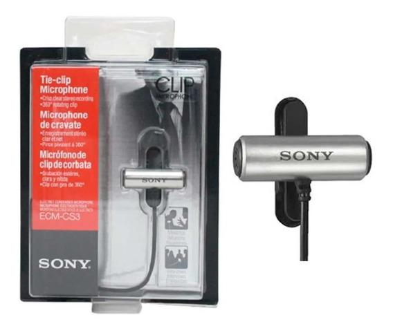 Microfone Sony Ecm-cs3 Omnidirecional Cinza Novo