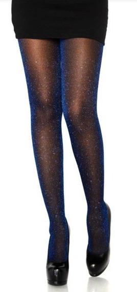 Medias Pantys Dama Negras Con Escarcha Azul Tipo Tumblr
