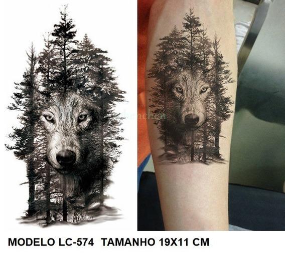 2 Tatuagem Grande Lobo Pronta Entrega Vários Desenhos!