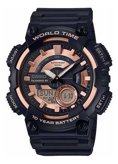 Relógio Casio Aeq-110w-1a3vdf Masculino Preto Dour- Refinado