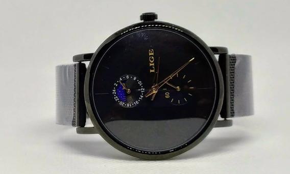 Relógio Feminino Aço Inoxidável Resistente A Água Lige Black