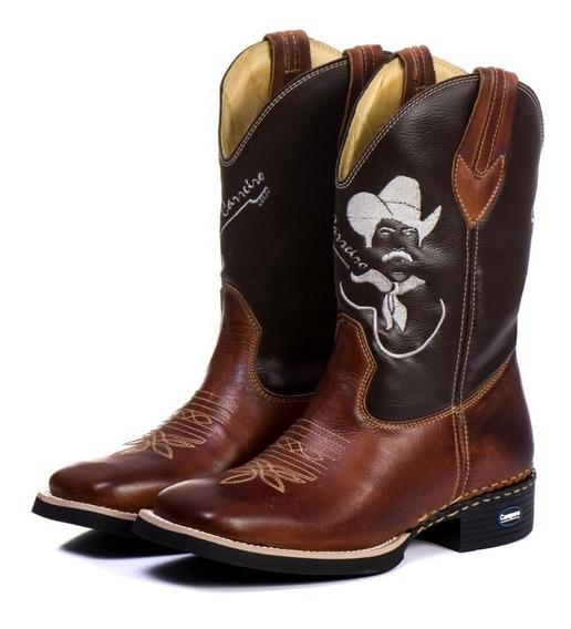 Bota Country Masculina Bico Quadrado Texana Couro Marrom