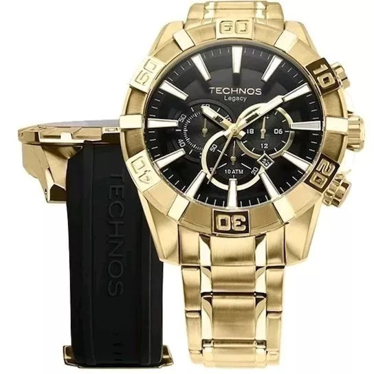 Relógio Dourado Technos Masculino Classic Legacy Os2aajac/4p T87