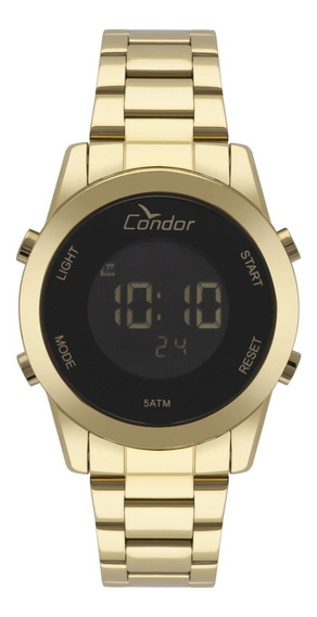 Relógio Dourado Feminino Digital Condor Cobj3279aa/4p.